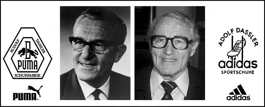 """Слева Puma — Rudolf """"Rudi"""" Dassler (Рудольф """"Руди"""" Дасслрер) и справа Adidas — Adolf """"Adi"""" Dassler (Адольф """"Ади"""" Дасслер)"""