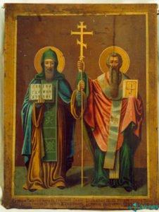 Икона Григория Журавлева — Святые Кирилл и Мефодий.