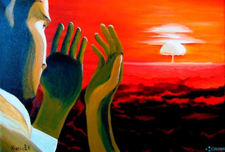 """Картина Карипбэка Куюкова """"Взрыв"""", подарок Обаме в 2016г"""